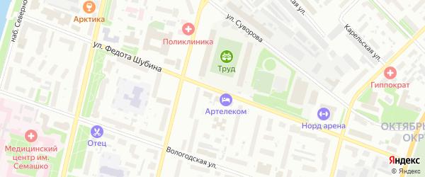 Улица Федота Шубина на карте Архангельска с номерами домов