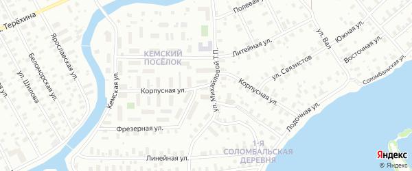 Корпусная улица на карте Архангельска с номерами домов