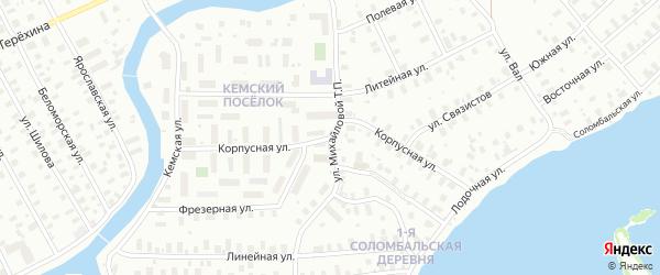 Улица Михайловой на карте Архангельска с номерами домов