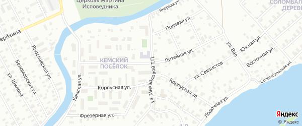 Литейная улица на карте Архангельска с номерами домов