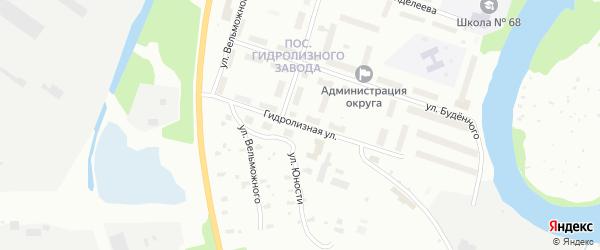 Гидролизная улица на карте Архангельска с номерами домов