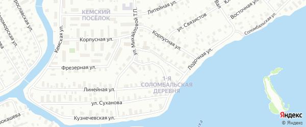 Пертоминский переулок на карте Архангельска с номерами домов