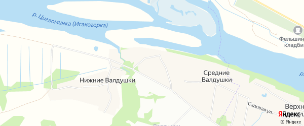 Карта деревни Средние Валдушки в Архангельской области с улицами и номерами домов