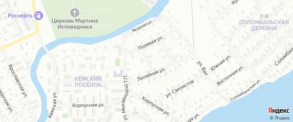 1-й Физкультурный переулок на карте Архангельска с номерами домов