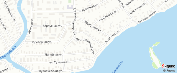 Краснофлотский переулок на карте Архангельска с номерами домов