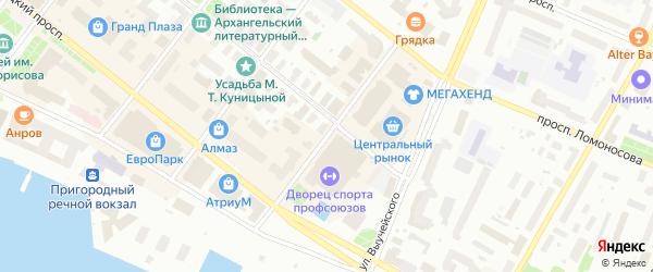Улица Иоанна Кронштадтского на карте Архангельска с номерами домов