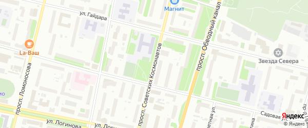 Проспект Советских Космонавтов на карте Архангельска с номерами домов
