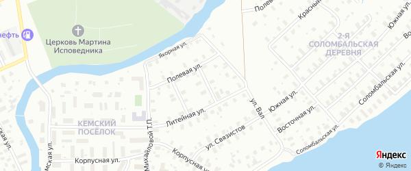 2-й Физкультурный переулок на карте Архангельска с номерами домов