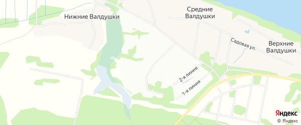 Карта садового некоммерческого товарищества Валдушек в Архангельской области с улицами и номерами домов