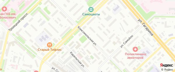 Комсомольская улица на карте Архангельска с номерами домов