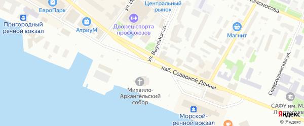 Набережная Северной Двины на карте Архангельска с номерами домов
