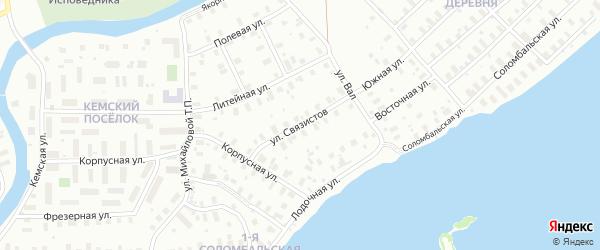 Улица Связистов на карте Архангельска с номерами домов