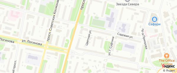 Цветная улица на карте Архангельска с номерами домов