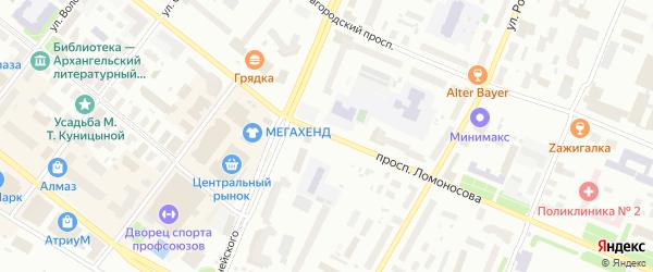 Проспект Ломоносова на карте Архангельска с номерами домов