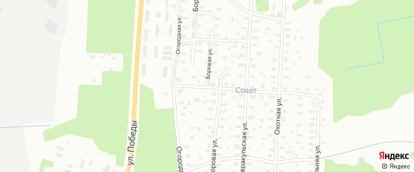 Боровая улица на карте Октябрьского поселка с номерами домов