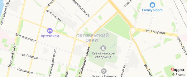 Октябрьский ГСК на карте набережной Северной Двины с номерами домов