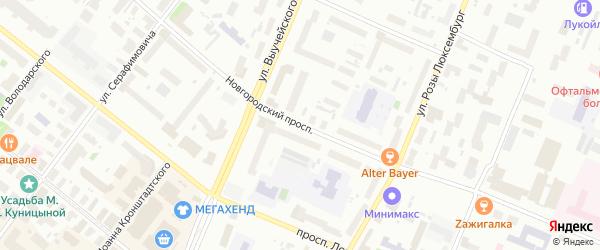 Новгородский проспект на карте Архангельска с номерами домов