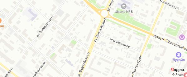 Улица Выучейского на карте Архангельска с номерами домов