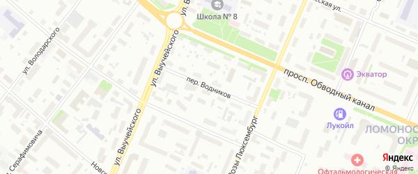 Переулок Водников на карте Архангельска с номерами домов
