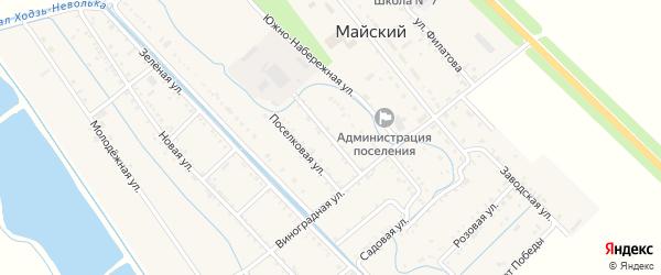 Школьная улица на карте Майского поселка с номерами домов