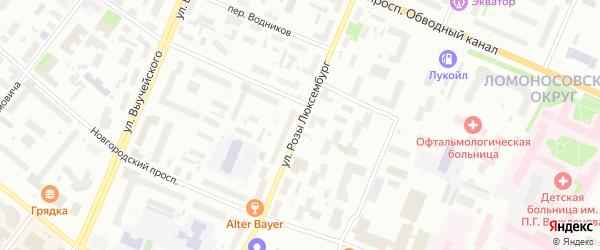 Улица Розы Люксембург на карте Архангельска с номерами домов
