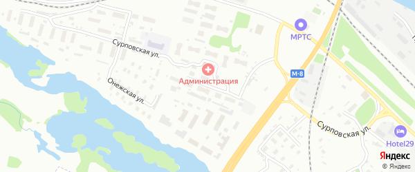 Онежская улица на карте Архангельска с номерами домов