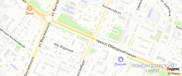 Проспект Обводный Канал на карте Архангельска с номерами домов