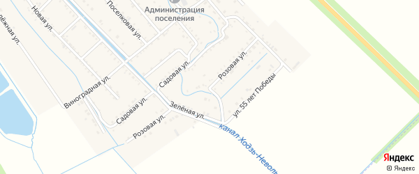 Розовая улица на карте Майского поселка с номерами домов