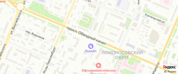 Северодвинская улица на карте Архангельска с номерами домов