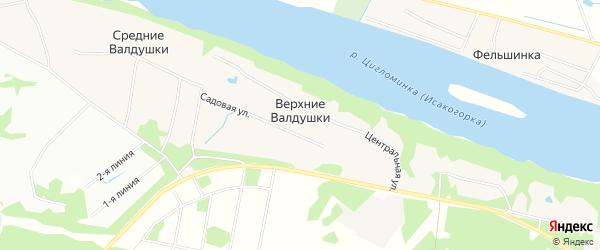 Карта деревни Верхние Валдушки в Архангельской области с улицами и номерами домов