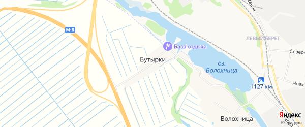 Карта деревни Бутырки в Архангельской области с улицами и номерами домов