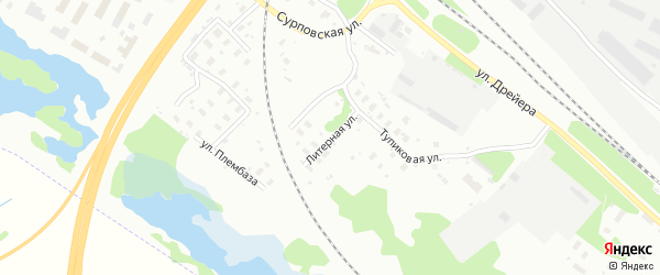 Литерная улица на карте Архангельска с номерами домов