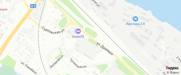 Улица Дрейера на карте Архангельска с номерами домов