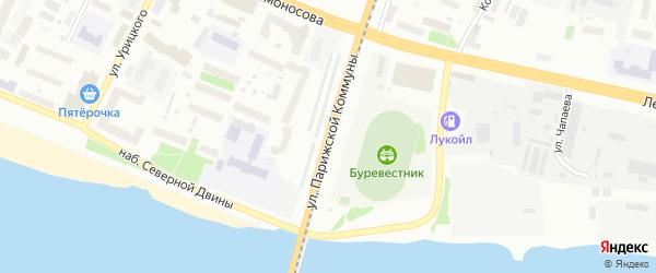 Улица Парижской коммуны на карте Архангельска с номерами домов