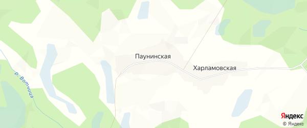 Карта Паунинской деревни в Архангельской области с улицами и номерами домов