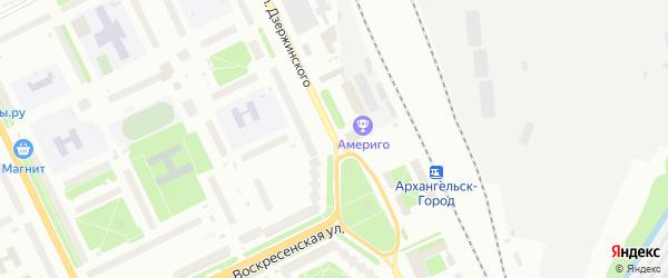 Проспект Дзержинского на карте Архангельска с номерами домов