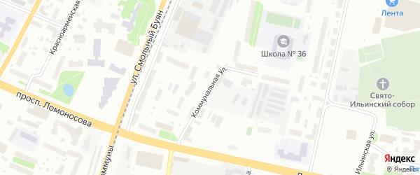 Коммунальная улица на карте Архангельска с номерами домов
