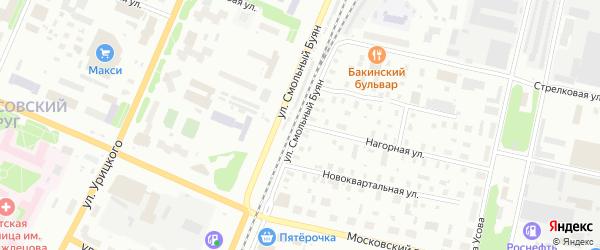 Нагорная улица на карте Архангельска с номерами домов