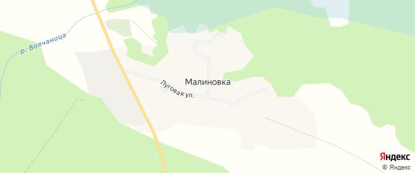 Карта поселка Малиновки в Архангельской области с улицами и номерами домов