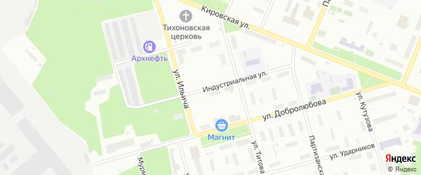 Индустриальная улица на карте Архангельска с номерами домов