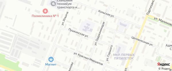 Пушкинская улица на карте Архангельска с номерами домов