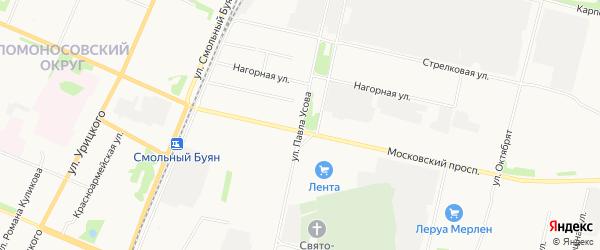 Московско-Усовский ГСК на карте улицы Павла Усова с номерами домов