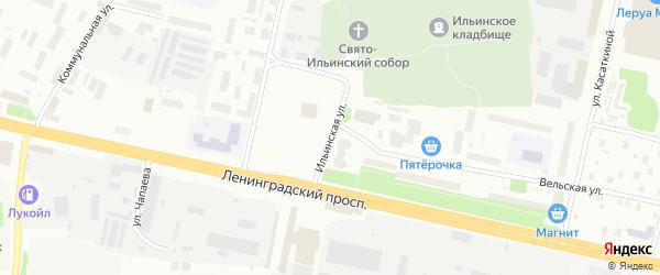Ильинская улица на карте Архангельска с номерами домов