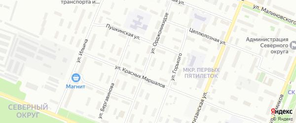 Улица Орджоникидзе на карте Архангельска с номерами домов