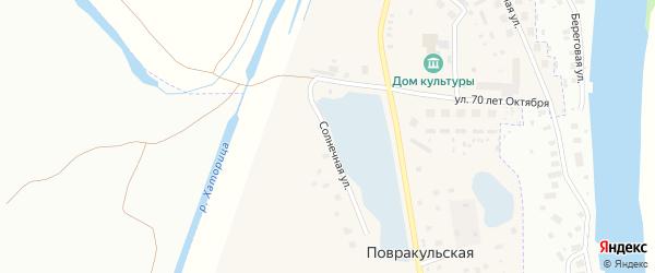 Солнечная улица на карте Повракульской деревни с номерами домов