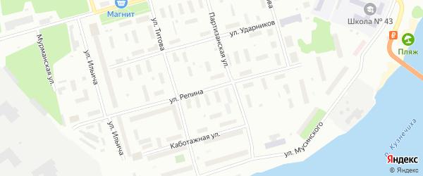Улица Репина на карте Архангельска с номерами домов