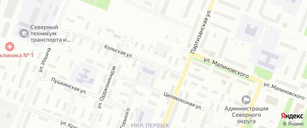 Кольская улица на карте Архангельска с номерами домов