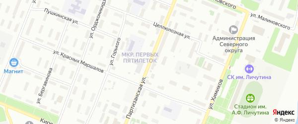 Партизанская улица на карте Архангельска с номерами домов