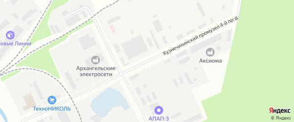 Проезд 4-й (Кузнечихинский промузел) на карте Архангельска с номерами домов
