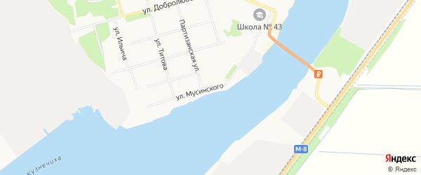 ГСК Лесопильщик на карте улицы Мусинского с номерами домов